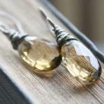 whiskey quartz gemstone ear..
