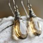 whiskey quartz gemstone earrings, g..